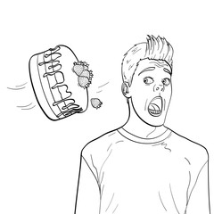Cake is thrown in man face vector. Children and adult coloring, black lines, white background