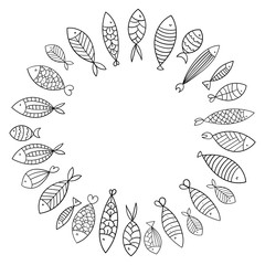 School of fish. A group of stylized fish swimming in a circle. Black and white fish for children with ornaments. Marine life. Vector illustration. Tattoo. Logo fishes.