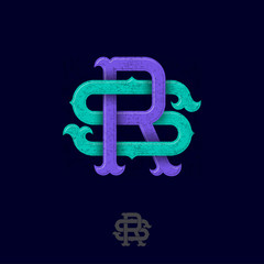 R and S monogram. R and S crossed letters, intertwined letters initials.