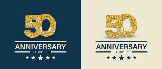 50th Anniversary celebrating cards template. Vector illustration.