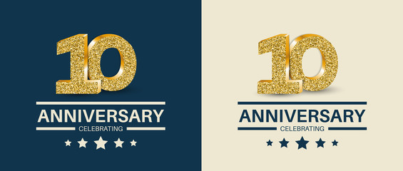 10th Anniversary celebrating cards template. Vector illustration.