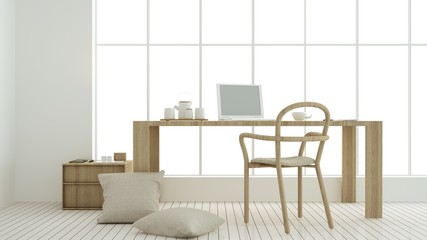 The interior relax space 3d rendering and background minimal japanese