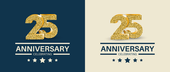 25th Anniversary celebrating cards template. Vector illustration.
