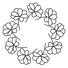 Flower wreath. Floral round frame isolated on white background. Vector illustration.