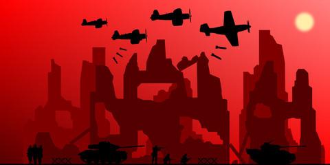 Guerre Bombardement et Ruines WW2
