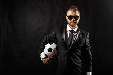 soccer sport manager in business suit
