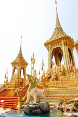 Bangkok, Thailand - November 04, 2017; Beautiful The Royal Gold Crematorium for King Bhumibol Adulyadej  at November 04, 2017