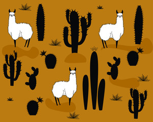Set of  vector alpaca and cactus elements. vector illustration