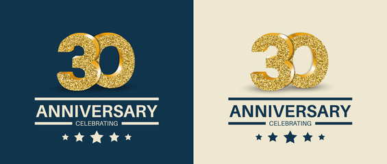 30th Anniversary celebrating cards template. Vector illustration.
