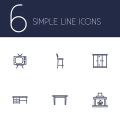Set of 6 set icons line style set. Collection of television, dining desk, chair and other elements.
