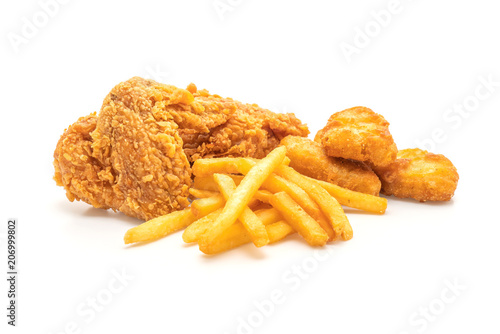 Fried Chicken With French Fries And Nuggets Meal Junk Food And