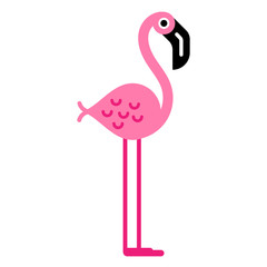 Flat colorful illustration of a cute pink flamingo character, isolated.