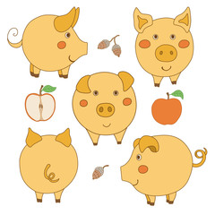 Set of cute cartoon yellow pig: face, profile, back view. Sliced and whole apple. Acorn.