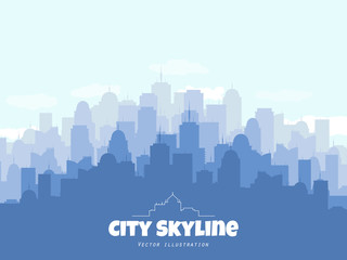 Silhouette of city skyline. Vector urban illustration with buildings