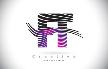 FT F T Zebra Texture Letter Logo Design With Creative Lines and Swosh in Purple Magenta Color.