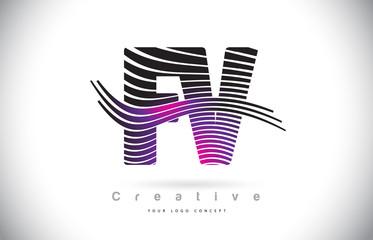 FV F V Zebra Texture Letter Logo Design With Creative Lines and Swosh in Purple Magenta Color.