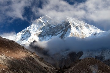 Mount Makalu with clouds, Nepal Himalayas