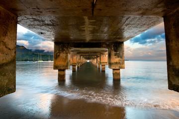 Hanalei Bay Pier, Kauai, Hawai, sunrise