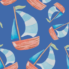 Seamless pattern on a sea theme painted watercolor on a blue background