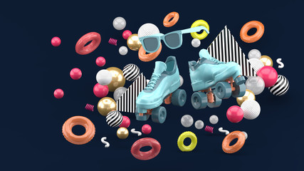 Blue skates shoe and pink glasses amid colorful balls on a  dark blue background. -3d render..