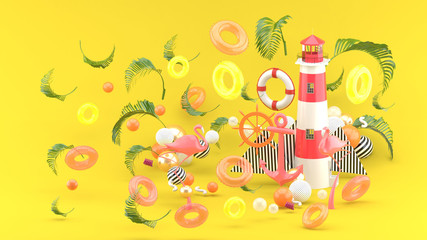 Pink anchor,flamingo and lighthouse.among the colorful boia on the yellow background. - 3d render.