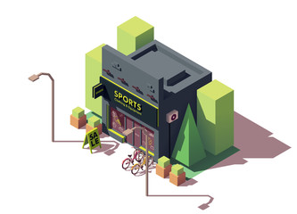 Vector isometric sports and fitness store