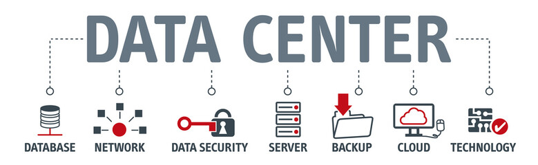 Banner data center vector illustration