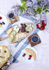 Printed kitchen splashbacks Picnic Summer picnic with cheese, wine, fruits and bread.