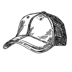 Sports accessories. Cap. Engraving style. Vector illustration
