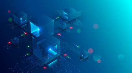 Blockchain concept banner. Isometric digital blocks connection with each other and shapes crypto chain. Blocks or cubes, connection consists digits. Abstract technology background. Vector illustration Wall mural