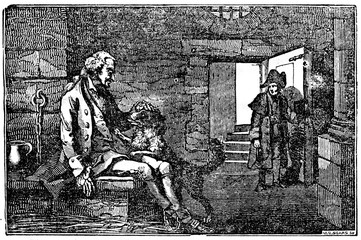 Trusted dog in prison together with his master (French Revolution) (from Das Heller-Magazin, March 29, 1834)