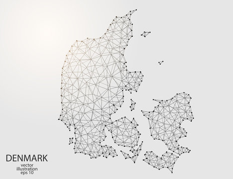 A map of Denmark consisting of 3D triangles, lines, points, and connections. Vector illustration of the EPS 10.