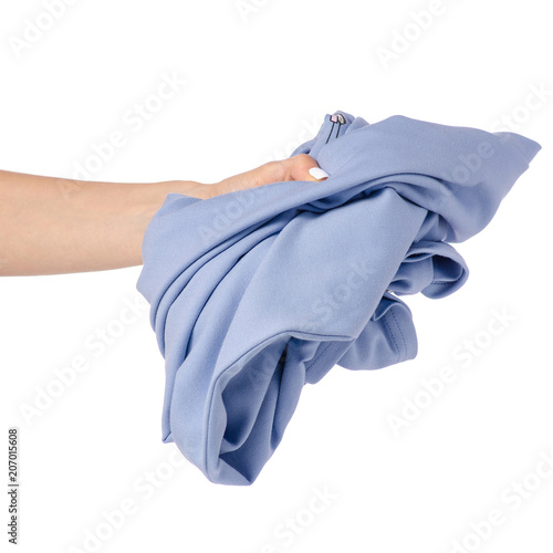 b8ba1f4e0 Crumpled blue cloth dress in hand on white background isolation ...
