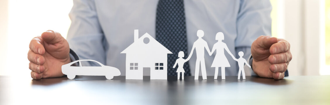 Concept of family, home and car insurance