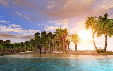 tropical island with palm trees at sunset, oceanic sunrise over the island