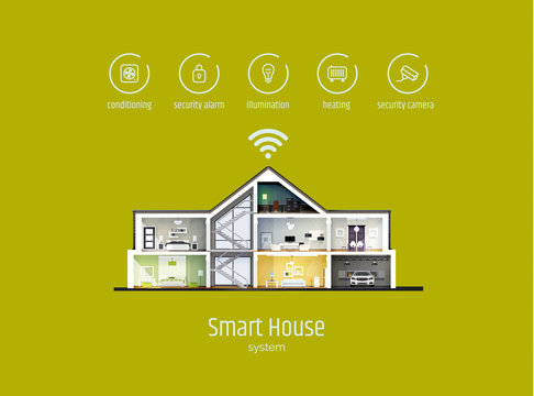 Smart house infographics. House in a cut with icons of house management systems. Modern vector illustration, flat style.