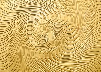 Metal relief of golden sun beam