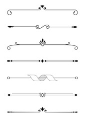 Calligraphic decorative elements in vector format. Design elements for page decoration