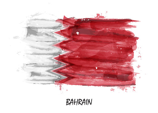 Realistic watercolor painting flag of Bahrain . Vector