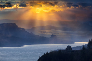 Sun Rays over Columbia River Gorge during Sunrise