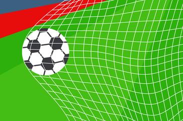 football soccer ball in net goal