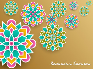 Ramadan Kareem with paper graphic of islamic decoration