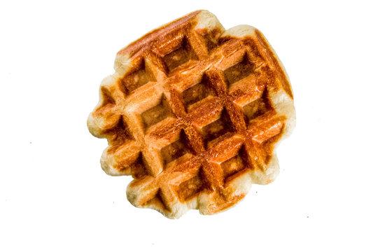 Belgian soft lush yeast waffle, isolate on white background