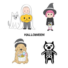 Cartoon cute Halloween kids vector.