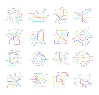 Metro Map Signs Color Thin Line Icon Set. Vector