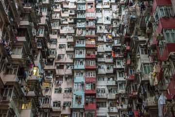 Garden Poster Asian Famous Place Overcrowded residential building in Hong Kong