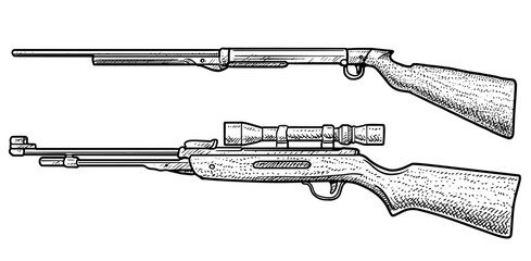 Air rifle illustration, drawing, engraving, ink, line art, vector
