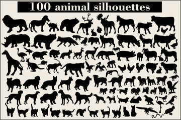 Collection of animal silhouettes on a gray background