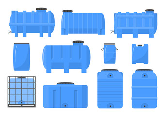 Vector illustration. Set of plastic barrels for water.