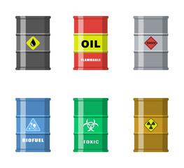 Vector illustration. Set of metal barrels, different applications.
